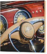 1941 Lincoln Continental Cabriolet V12 Steering Wheel Wood Print