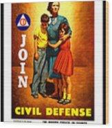 1942 Civil Defense Poster By Charles Coiner Wood Print