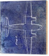 1945 Transport Airplane Patent Blue Wood Print