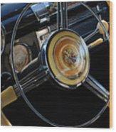1947 Buick Eight Super Steering Wheel Wood Print