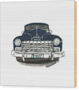 1947 Dodge Club Coupe - Navy Blue - Front View Wood Print