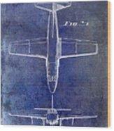 1949 Airplane Patent Drawing Blue Wood Print
