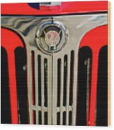 1949 Willys Jeepster Hood Ornament And Grille Wood Print