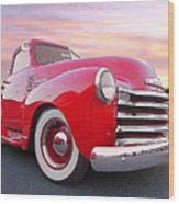 1950 Chevy Pick Up At Sunset Wood Print