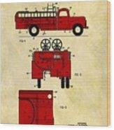 1950 Red Firetruck Patent Wood Print
