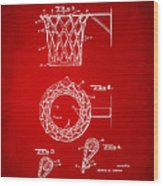 1951 Basketball Net Patent Artwork - Red Wood Print by Nikki Marie Smith