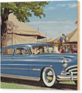 1951 Hudson Hornet Fair Americana Antique Car Auto Nostalgic Rural Country Scene Landscape Painting Wood Print