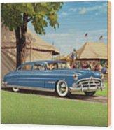 1951 Hudson Hornet - Square Format - Antique Car Auto - Nostalgic Rural Country Scene Painting Wood Print