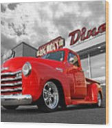 1952 Chevrolet Truck At The Diner Wood Print