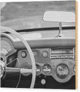 1954 Chevrolet Corvette Steering Wheel -368bw Wood Print