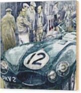 1954 Le Mans 24 Jaguar D Type Short Nose Stirling Moss Peter Walker  Wood Print