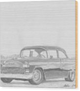 1955 Chevrolet Bel-air Classic Car Art Print Wood Print