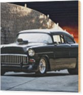 1955 Chevrolet Coupe 'sinister Chevy' Wood Print