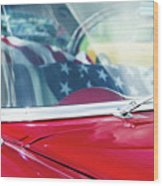 1955 Chevy Bel Air With Flag Wood Print