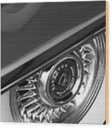 1956 Cadillac Eldorado Wheel Black And White Wood Print