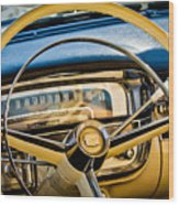 1956 Cadillac Steering Wheel Wood Print