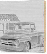 1956 Ford Pickup Truck Art Print Wood Print