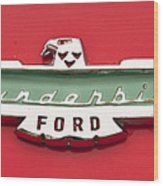 1956 Ford Thunderbird Emblem Wood Print
