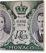 1956 Princess Grace Of Monaco Stamp II Wood Print