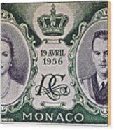 1956 Princess Grace Of Monaco Stamp II Wood Print