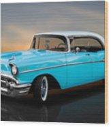 1957 Chevrolet Bel Air 4 Door Hardtop Wood Print