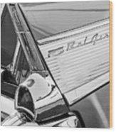 1957 Chevrolet Bel Air Tail Light Emblem -0140bw Wood Print