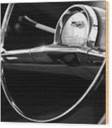 1957 Chevrolet Belair Steering Wheel Black And White Wood Print