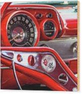 1957 Chevy Bel Air Stering Wheel  Wood Print