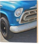 1957 Chevy - Chevrolet Pickup Grille And Logos Wood Print