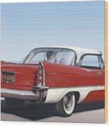 1957 De Soto Car Nostalgic Rustic Americana Antique Car Painting Red  Wood Print