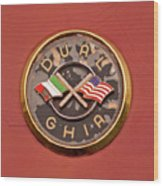 1957 Dual Ghia Convertible Coupe Emblem Wood Print