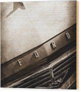 1957 Ford Custom 300 Series Ranchero Hood Ornament - Emblem -0477s Wood Print