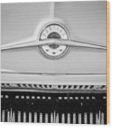 1957 Pontiac Safari Emblem -0737bw Wood Print