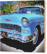 1955 Chevy Baby Blue Wood Print