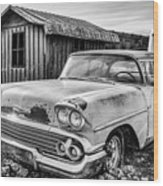 1958 Chevy Del Ray In Black And White Wood Print