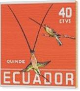 1958 Ecuador Hummingbirds Postage Stamp Wood Print