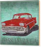 1958 Impala By Chevrolet Wood Print