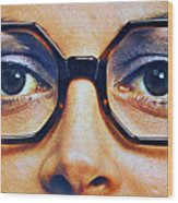 1960 70 Stylish Female Glasses Advertisement 4 Wood Print