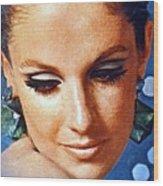 1960 70 Stylish Lady In Blue Wood Print