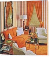 1960 70 Stylish Living Room Advertisement Orange And Stripes Groovy Baby Wood Print