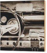 1960 Maserati 3500 Gt Spyder Steering Wheel Emblem -0407s Wood Print