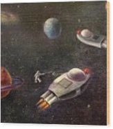 1960s Outer Space Adventure Wood Print