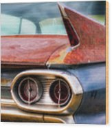 1961 Cadillac Tail Light And Fin Wood Print