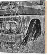 1961 Chevrolet Apache 10 Black And White 4 Wood Print