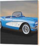 1961 Chevrolet C1 Corvette Convertible   -   61vette700 Wood Print