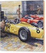 1961 Spa-francorchamps Ferrari Garage Ferrari 156 Sharknose  Wood Print