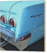 1962 Chevy - Chevrolet Biscayne Logos And Tail Lights Wood Print
