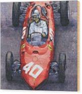 1962 Monaco Gp Willy Mairesse Ferrari 156 Sharknose Wood Print