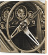 1963 Chevrolet Corvette Steering Wheel - Sepia Wood Print