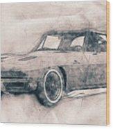 1963 Chevrolet Corvette Sting Ray - 1963 - Automotive Art - Car Posters Wood Print